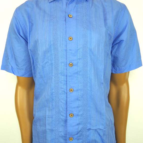 CARIBBEAN Roundtree /& Yorke Linen Blend Short Sleeve Casual Button Front Shirt